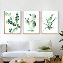 Refresh Tropical Green Leaves Canvas Paintings Cactus Posters Prints Wall Art Pictures for Living Room Unframed