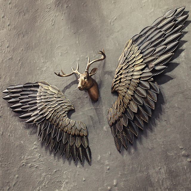 Metal Sculptures And Art Wall Decor: New Arrival Creative Abstract Retro Wing Wall Sculpture