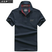 ФОТО jeep spirit brand men's short-sleeved polo shirt 2018 summer new men's solid color embroidery business vasual lapel tops