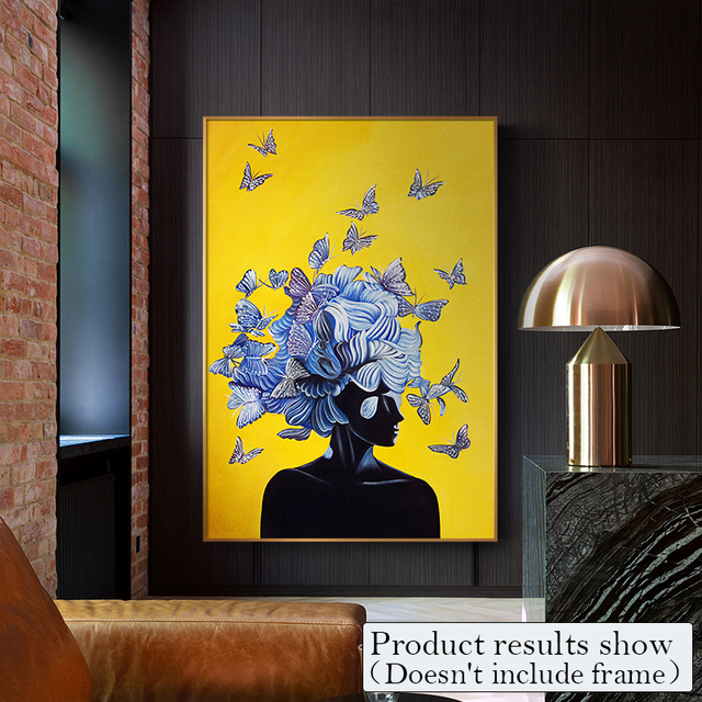 Abstract Girl With Butterfly Canvas Painting Art Wall Pictures For ...
