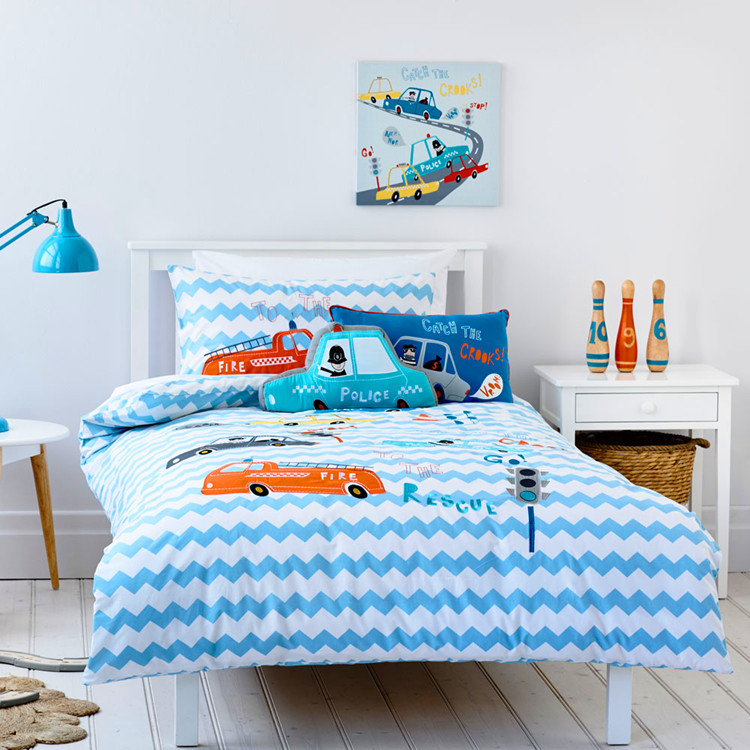 Free shipping Police blue car bedding set children cartoon fire engine patchwork applique embroidery bedclothes without filler