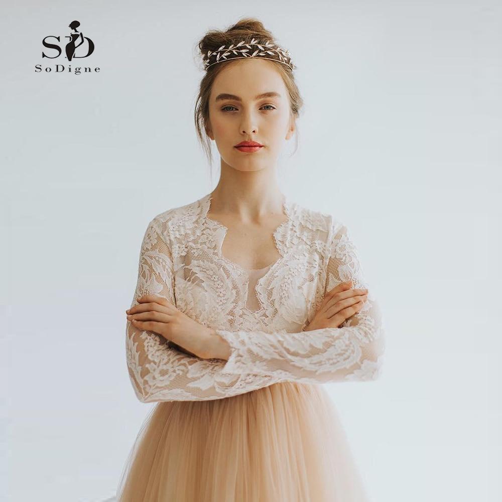 Lace-Top Bride Dress Long Sleeves Pink Modest Wedding Dress 2018 Custom made Contrast-color Vestidos de fiesta