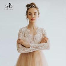 f05f867420 Koronki Góry Suknia Długie Rękawy Różowy Skromna Suknia Ślubna 2018 Custom  made Kontrast kolor Vestidos de