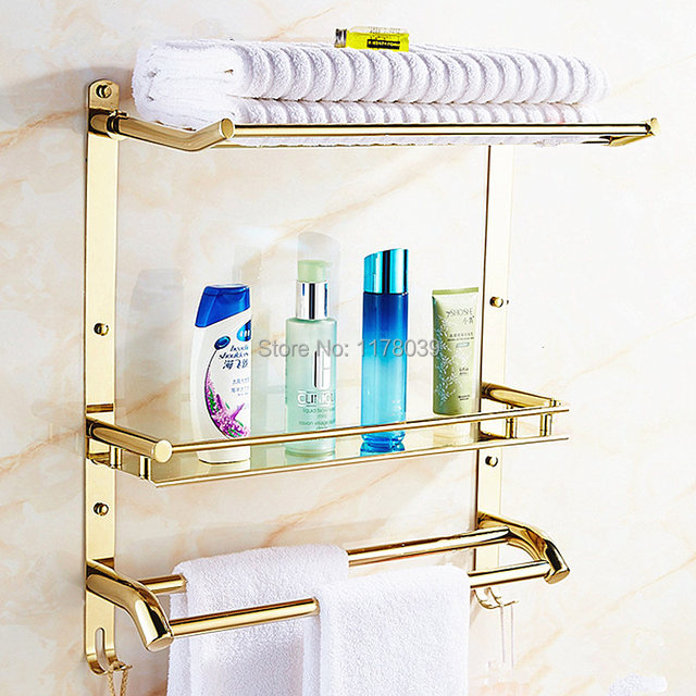 wall mounted towel rack with shelf and hooks,Europe style Stainless ...