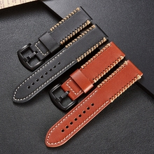 LPWHH Cowhide Leather Watchband For Apple 22mm Black Brown Pin Buckle Genuith Watch Strap Band