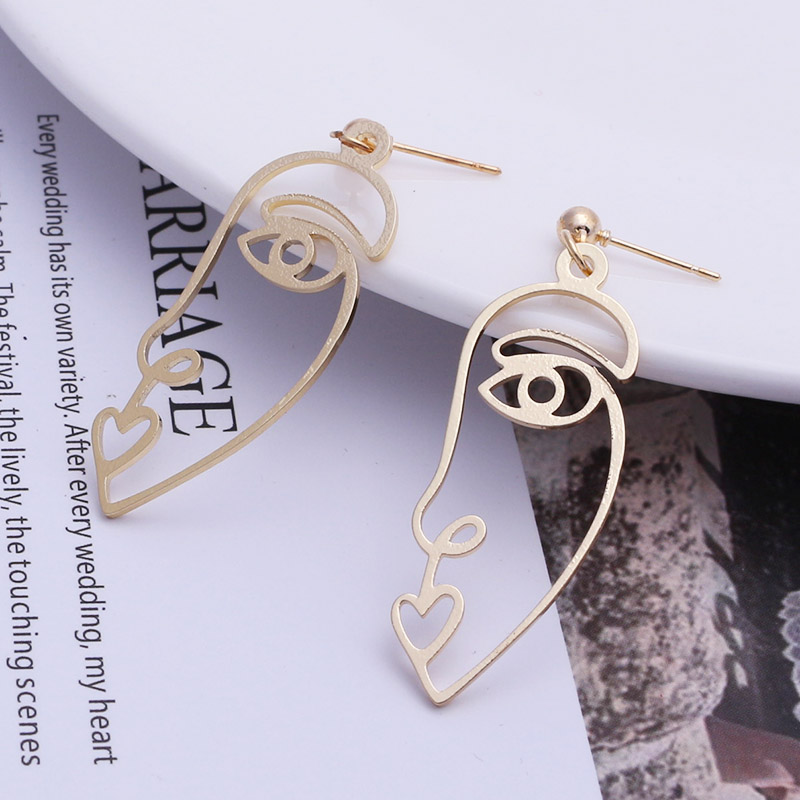 19 New Arrival Abstract Stylish Hollow Out Face Dangle Earrings Girls Statement Drop Earrings Charm Statement Earrings ES4 6