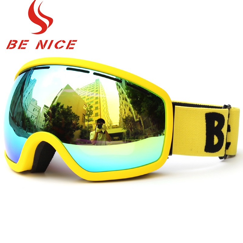 Benice Skiing Goggle Double Layer Anti-Fog Big Spherical Ski Eyewear Multicolor Women Wear Myopia Glasses Available Snow Goggles