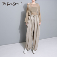 TWOTWINSTYLE Suspenders Jumpsuits For Women Lace Up High Waist Big Size Long Wide Leg Trouser Spring Fashion Casual Clothing