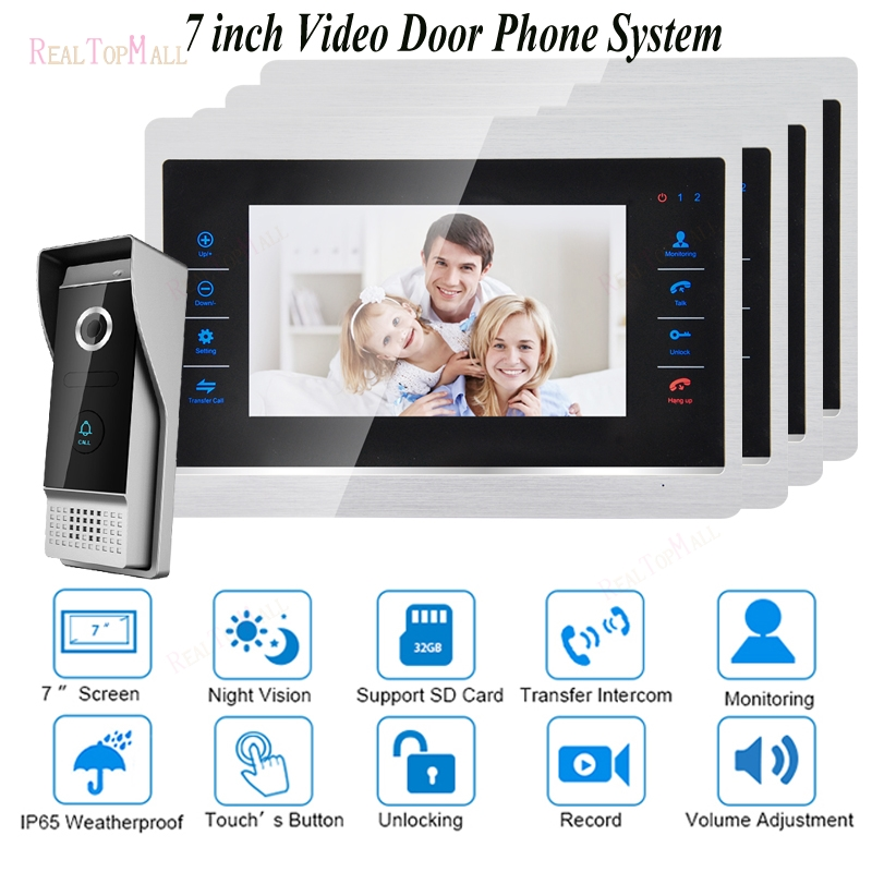 7 Inch Video Door Phone Monitor Intercom System Kit Doorbell Camera Night Vision 1200 TVL Recording SD Card Support 1 v 4 7 inch color tft lcd wired video door phone home doorbell intercom camera system with 1 camera 1 monitor support night vision