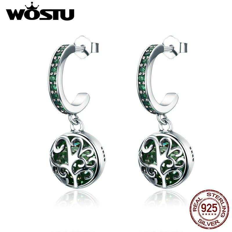 WOSTU Drop-Earrings Jewelry Tree-Leaves Green Crystal Women Fashion 100%925-Sterling-Silver