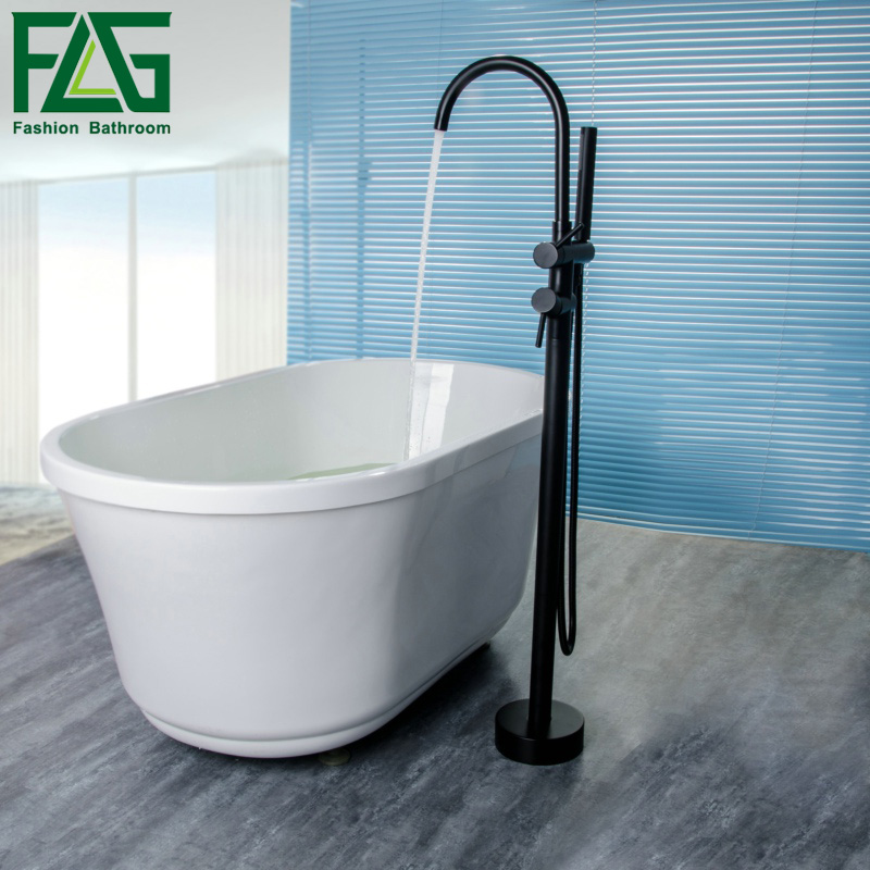 FLG Andar Monte torneira Banheira de Latão Sólido conjunto de Chuveiro Do Banheiro Misturador Função 2 HS117-77B ORB Misturador Do Banho de Torneira