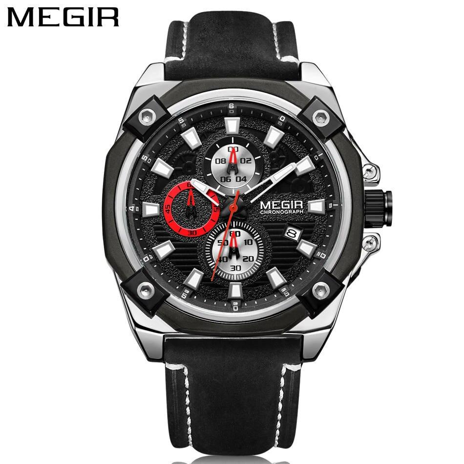 MEGIR D'origine Bande Hommes Occasionnels Montre Étanche Militaire Chronographe Sport Multifonctions Nouveau Style Bracelet En Cuir Élégant Horloge