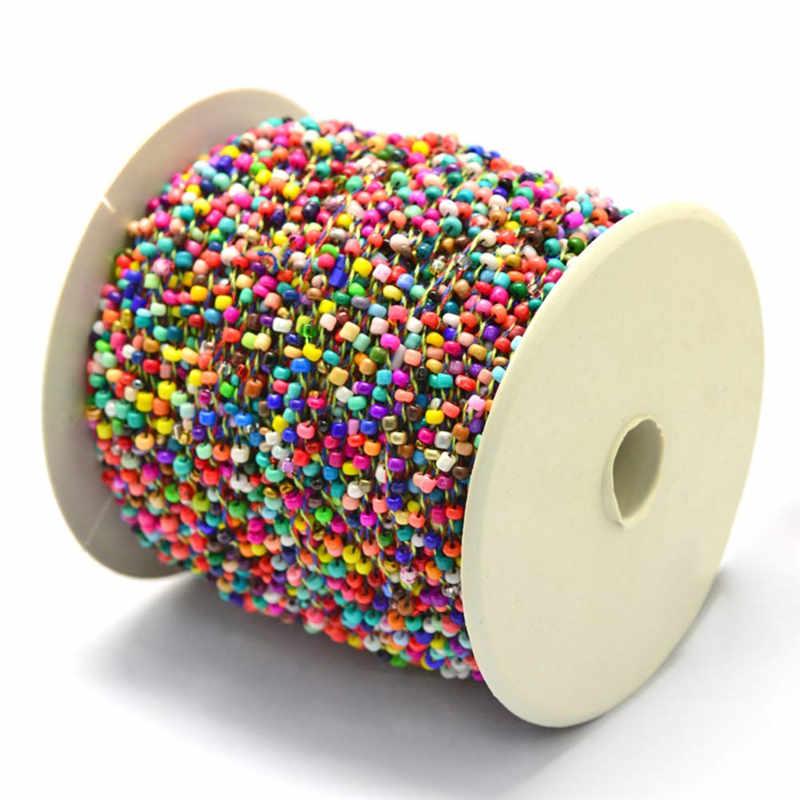 2mm alrededor de 100 yardas/rollo de semillas opacas de colores pequeños cordones de cadena de hilo para fabricación de joyería DIY, con cordones de poliéster F65|small beads|for jewelry makingseed beads - AliExpress