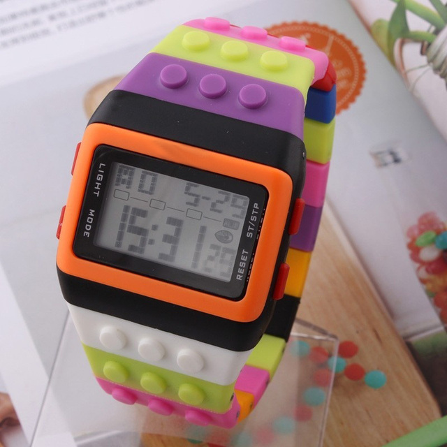 New LED Kids Watch Fashion Casual Cartoon Watches Colorful Rainbow Girls & Boys Digit Clock Hour Wristwatches LXH