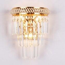 Europejskie złote  dekoracyjne szkło kryształowa ściana lampa kreatywna 3 głowice E14 Cafe ściana światło dla Foyer salon nocne schody nawy