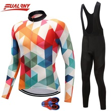 2019 NEW Team FUALRNY Long sleeve Ropa Ciclismo Cycling Jersey sets 9D gel/Autumn Bicycle Clothing/MTB Bike Clothes Man block
