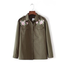 XINGYIDA New Embroidery Floral Denim Women Blouse Single Breasted Button Handsome OL Euro Style Green Basic Shirt