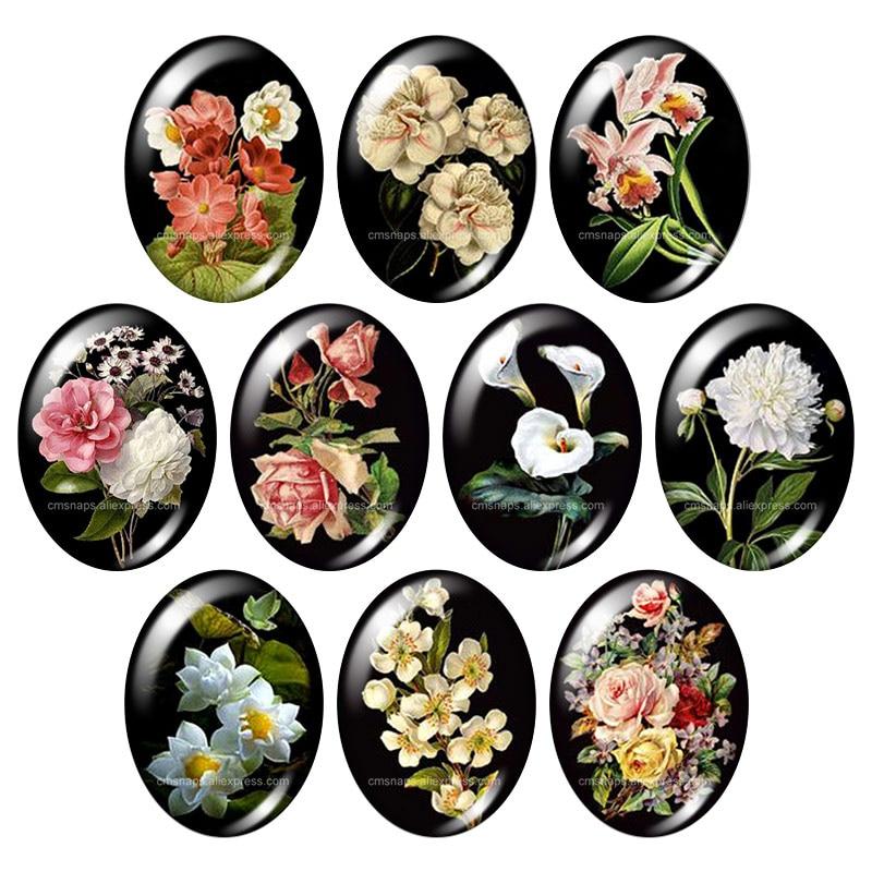 Красивые Винтажные Цветы Роза Маргаритка 10 шт. 13x18 мм/18x25 мм/30x40 мм овальные фото стекло кабошон демонстрационная плоская задняя часть изготовление TB0043 - Цвет: 10pcs mixed