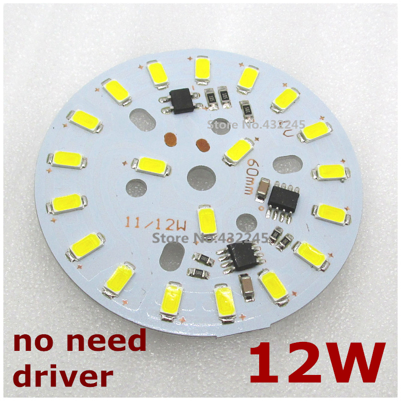 10pcs AC 110V 120V 130V directly 11W 12W Integrated IC LED PCB smd 5730 Aluminum Base Plate no need driver. natural white.free.