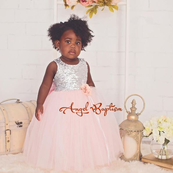 Bling sequins pink toddler flower girl dresses criss-cross back with bow Lovely wedding birthday parties tulle ball gowns criss cross back tie side bikini set