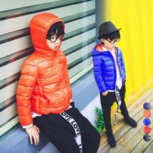 Мальчика пальто корейских детей носить короткие 2016 детей зимний ultra light пуховик легкомысленным с капюшоном белая утка вниз 1108