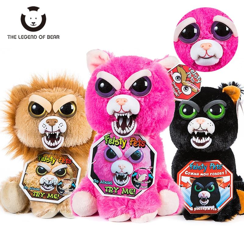 Mudar o rosto animais de estimação mal-humorada unicórnio urso de pelúcia gato brinquedos de pelúcia engraçado expressão panda brinquedos de pelúcia boneca para o presente de natal do bebê