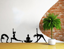 Vinyl Sticker Home Decor Art Mural Yoga Poses Silhouettes Spelled Position Studio Fitness Namaste Decal Bedroom W-71