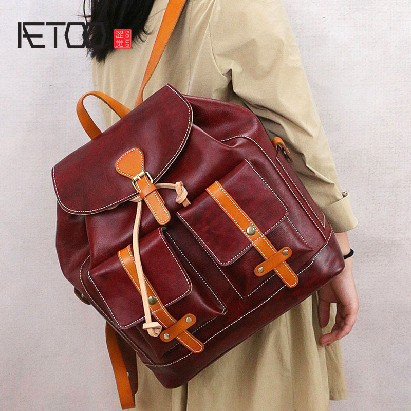 AETOO The new retro college Department of wind shoulders head layer of leather shoulder Messenger bag leather qiaobao 2018 new korean version of the first layer of women s leather packet messenger bag female shoulder diagonal cross bag