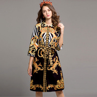 New Arrival 2017 Autumn Women S Turn Down Collar 3 4 Sleeves Printed Sash Belt Elegant