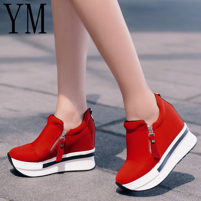 2018 Hot SALE Spring Autumn Fashion Platform shoes With Zip 10CM Casual Sweet Sneakers Shallow Women Shoes Size 35-39