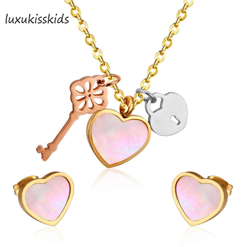 LUXUKISSKIDS Brand New Shell Jewelry Sets Upscale Heart and Key Shape For Women Gift