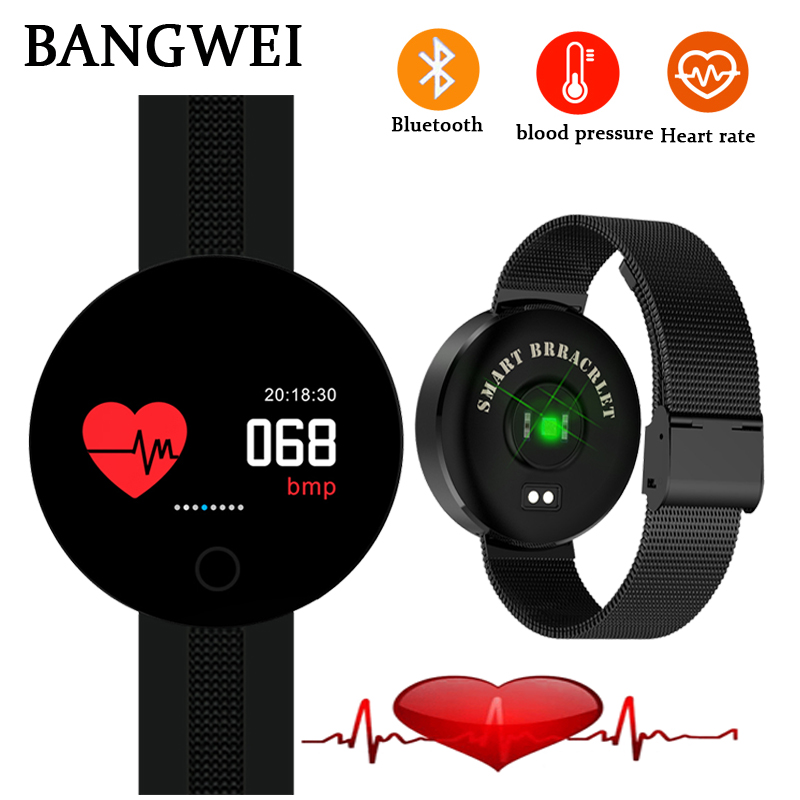 цены 2018 BANGWEI New Men Women Smart Watch Heart Blood Rate Pressure Monitor Fitness Tracker Waterproof Sports Smart Watch Men+Box