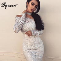 Bqueen 2017 New Arrival Sexy Lace Mini Autumn Women Bandage Dress Elegant Slash Neck Full Sleeve