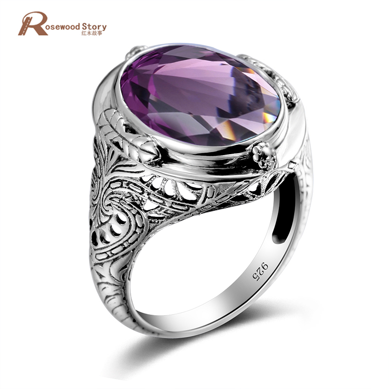 Bague Femme Purple Silver Jewelry Purple Stone Crystal Rings Women Men Wedding Rings Vintage 925 Sterling Silver Jewelry vanaxin 925 sterling silver rings for men jewelry iced out cz crystal anel masculino joias engagement wedding rings bague homme