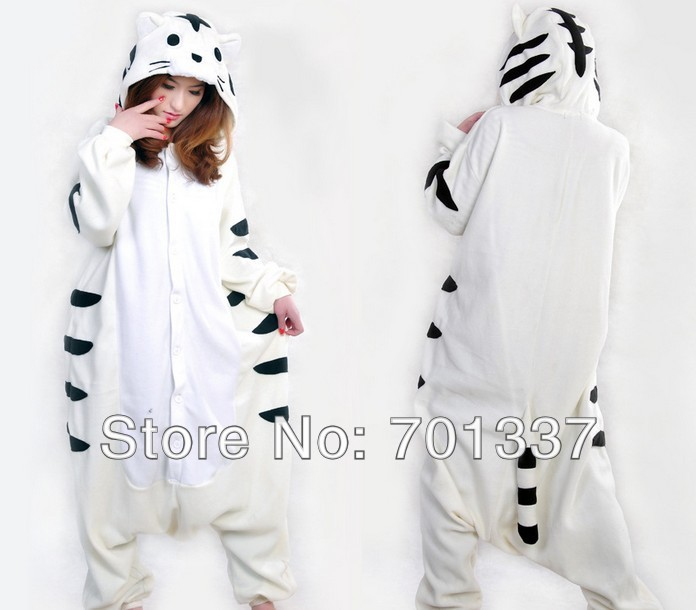 Hommes Dames Blanc Tigre Onesie Adulte Animal Onesies Onsie Salopette Pyjamas Pyjamas 339 S/M/L/XL/XXL