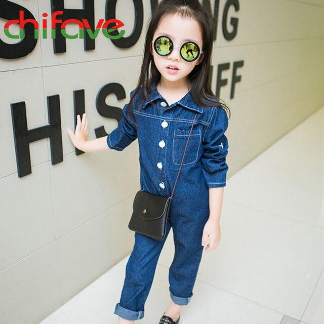 2016 New Autumn Spring Girls Denim Sets Children Girls Clothing Long Sleeve Jeans Jumpsuit Kids Girls Cool Clothes Sets