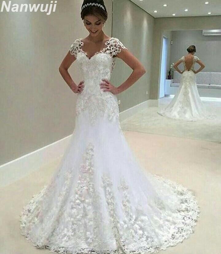 White Backless Lace Mermaid Wedding Dresses 2018 V Neck