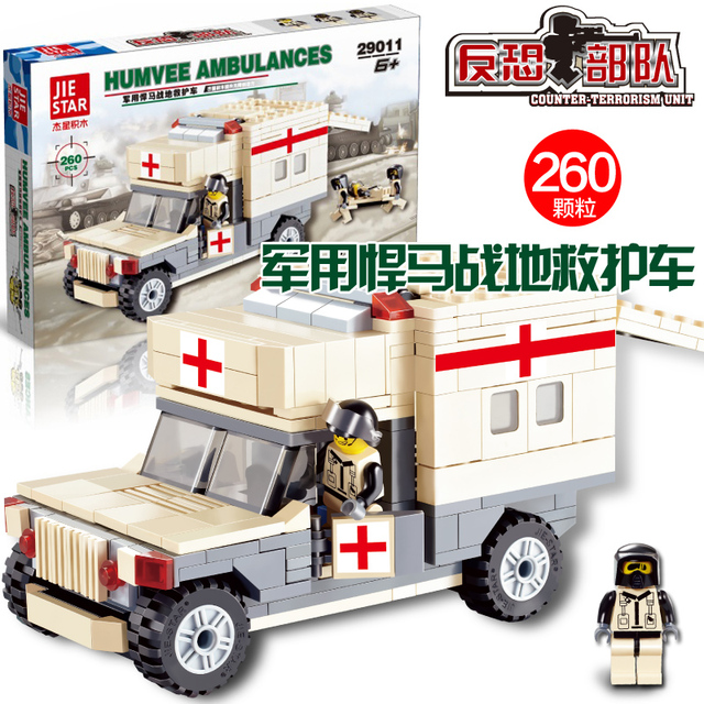 JIE STAR 29011 Military ambulance 260pcs DIY Educational toys plastic  Building Block Sets