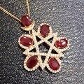 Natural rojo rubí piedra colgante S925 Collar de plata Colgante de Piedras Preciosas Naturales Elegante Personalidad Estrella partido de las mujeres de joyería fina
