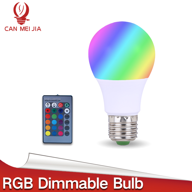CANMEIJIA RGB LED Bulb Light E27 3W 5W 7W E27 Dimmable Led Lamp with 16 Color Changing 24 Key Remote Controller AC 110V 220V e27 3w rgb 16 color changing led crystal light bulb lamp