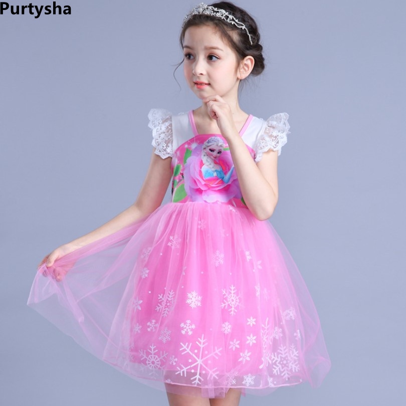 Summer 2018 Short Sleeve With Bow Lace Princess Dress For Birthday Party Halloween Costume Toddler Girl Clothes 4 To 10 Years