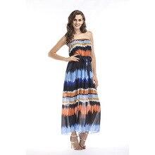 Womens Summer Chiffon Gradually Coloured Breast-wrapped Large Pregnant Dresses Elegant Dress  Long Sleeveless Strapless