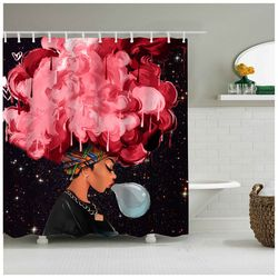 High Quality Different Custom Waterproof Bathroom African Woman Shower Curtain Polyester Fabric Bathroom Curtain