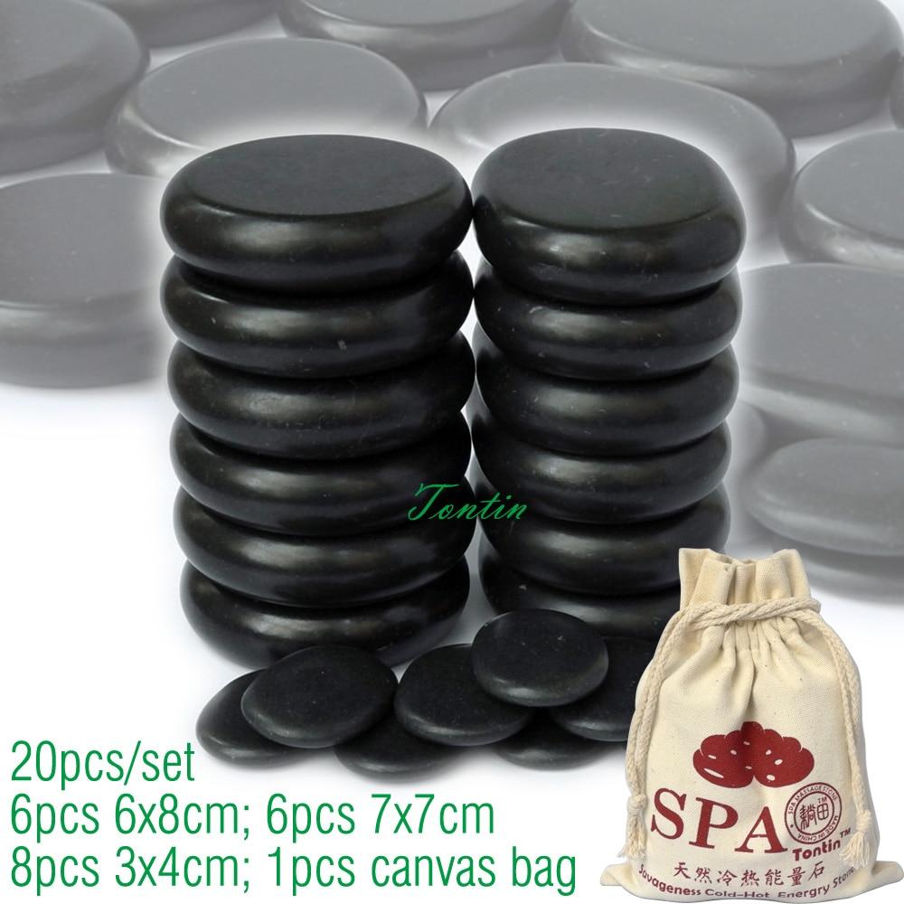 ФОТО New! TONTIN 20pcs/set Hot massage energy body stone set Salon SPA with bag CE and ROHS 6pcs (6x8)+6pcs(7x7)+8