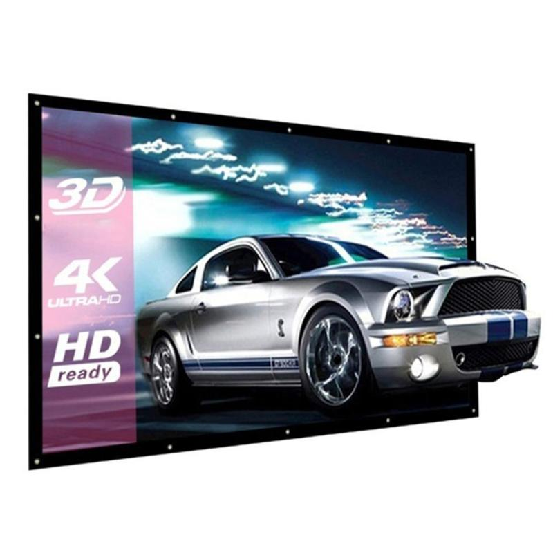 ALLOYSEED Portable 60/72/84/100/120 inch 3D HD Wall Mounted Projection Screen Canvas 16:9 LED Projector Screen For Home Theater 19