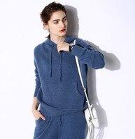 100% кашемир добавить толстые женские толстовки с капюшоном галстук воротник большой пуловер с карманами пальто джинсы Синий 6 цветов рознич
