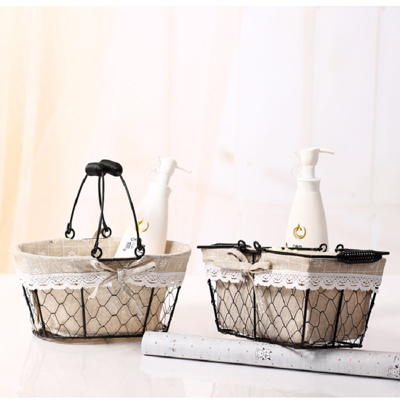 Iron Art Storage Basket  Snacks Candy Fruit Picnic Basket Makeup Toy Cosmetics Organizer Metal Box Shopping Basket Supermarket