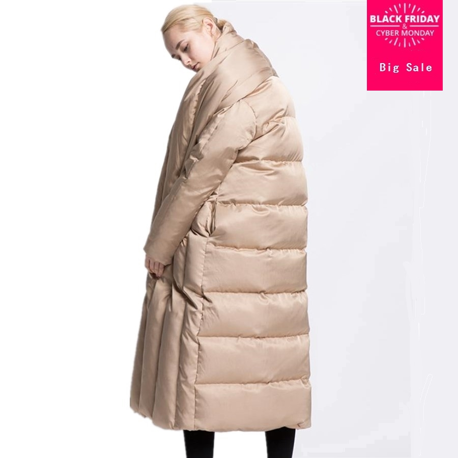 7XL 8XL Plus size fashion brand 90% duck   down     coat   2018 women's winter duck   down   jacket X-longer thicker warm   down   jacket wj1535