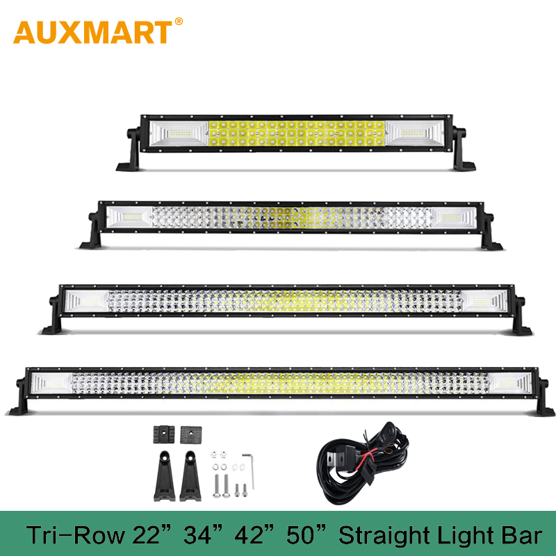Auxmart  3-Row 22 34 42 50 Straight LED light bar 12v 24v combo beam LED Bar Offroad camper truck 4x4 4WD SUV ATV Barra видеоигра бука saints row iv re elected
