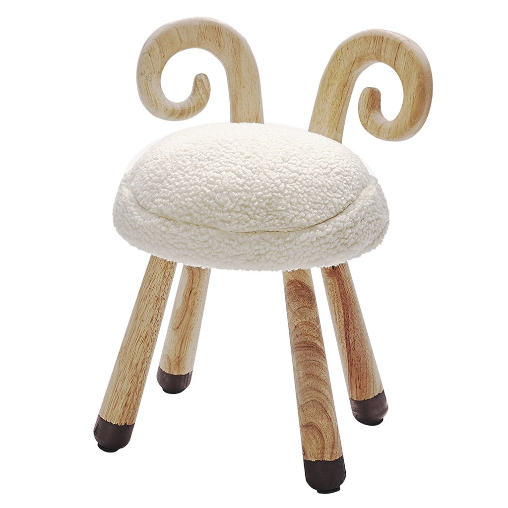 Wooden Plush Cute Small Stool Chair Soft Comfortable Baby Seat Decoration For Children's Room Kindergarten Bedroom